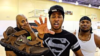 getlinkyoutube.com-THE WORST PUNISHMENT EVER! HALF COURT SHOTS ONLY CHALLENGE! LOSER HAS TO HOOP IN THE MOSES 12's!