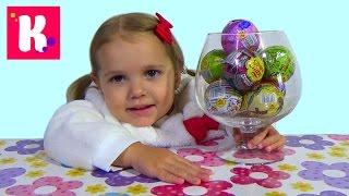 getlinkyoutube.com-Свинка Пеппа Юху и его друзья Маша и Медведь Чупа Чупс шары с сюрприз игрушки surprise balls toys