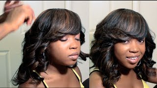 getlinkyoutube.com-How I Did My Sister's Full Sew In With Deep Side Bang