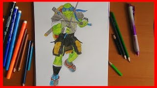 getlinkyoutube.com-How to draw Leo from ninja turtles 2014 movie, Как нарисовать черепашек ниндзя