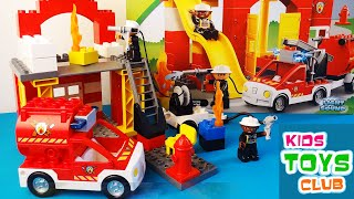 getlinkyoutube.com-LEGO Duplo Fire Station 6168 - 4 Variants of Building, Unboxing Review with flashing fire truck