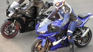 getlinkyoutube.com-The best street bikes drag racing,R6 vs CBR 1000RR,Kawasaki Ninja and Kawasaki vs Hayabusa.