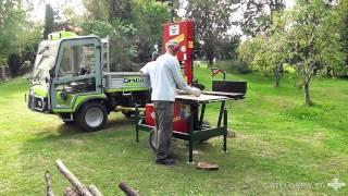 getlinkyoutube.com-Grillo PK800 4WD - PK1400 4WD PTO al lavoro con banco sega e spaccalegna