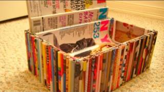 getlinkyoutube.com-DIY Recycled Magazine Organizer Box