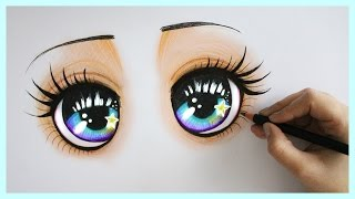 getlinkyoutube.com-Drawing Tutorial ❤ How to draw and color Sparkly Blue Eyes !