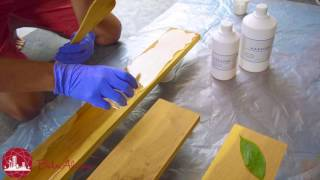 Haksons Resin and Hardener DIY Table Top project with wood and leaves