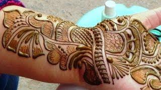 getlinkyoutube.com-Best Indian Arabic Henna Mehendi 2014:Bridal Makeup Shringar Haathphool Mehndi