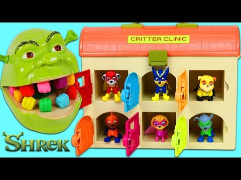 LEARN COLORS Feeding Hungry Shrek with Color Changing Teeth and Paw Patrol Friends!