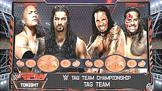getlinkyoutube.com-WWE RAW 2K16 - The Rock & Roman Reigns vs The Uso's - Tag Team Championship Match