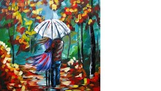 getlinkyoutube.com-Lovers Walking in Rain | Umbrella Art | Beginners Acrylic Painting