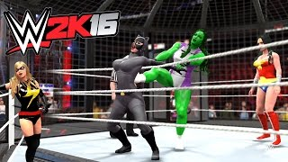 getlinkyoutube.com-WWE 2K16 - She Hulk VS Wonder Woman VS Supergirl VS Ms. Marvel VS Harley Quinn VS Catwoman