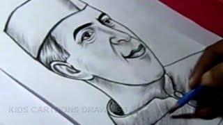 getlinkyoutube.com-How to Draw PANDIT NEHRU Drawing Step by Step For Kids in Telugu