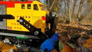 Lego train fighting on a stormy day - MOC train by nugru