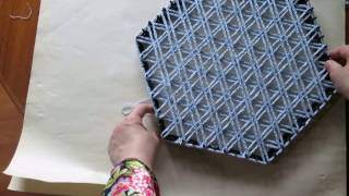 getlinkyoutube.com-Weaving Flower of Life pattern on a Hexagon with spool knitted cord