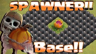 getlinkyoutube.com-Clash Of Clans - TH11 SPAWNER BASE!! NEW UPDATE w/ SCARY PUMPKIN!!! ( Spawn anywhere tips & Tricks))