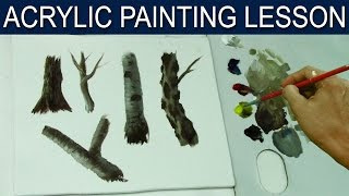 Acrylic Painting Lesson | How to Paint Different Tree Trunks by JM Lisondra