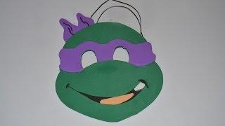 getlinkyoutube.com-Máscara infantil de Carnaval tortuga ninja Donatello