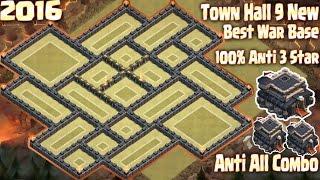 getlinkyoutube.com-Coc Th9 Best War Base 100% Anti 3 Star. Town Hall 9 New Base 2016 Clash of Clans