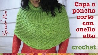 getlinkyoutube.com-Capa o poncho corto con cuello alto tejido a crochet