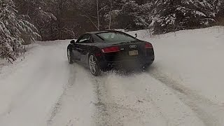 getlinkyoutube.com-Audi R8 in Fresh SNOW! Chase cam with GoPro HD