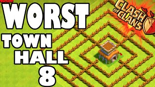 "getlinkyoutube.com-""WORLD'S WORST TOWN HALL 8!"" - Clash of Clans - GEMMING NEW BARRACKS + WALLS! This Base Sucks Ass"