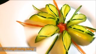 getlinkyoutube.com-Very Sexy Cucumber Art & Flower Design - Fruit & Vegetable Carving & Cutting Garnish