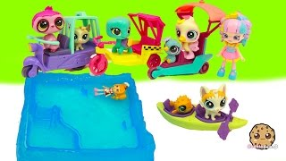 getlinkyoutube.com-Littlest Pet Shop Show Shopkins Shoppies Their LPS City Rides + Water Canoe Boat - Full Set of 4