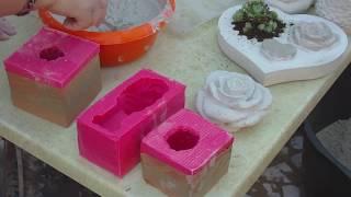 getlinkyoutube.com-DIY - Beton giessen - Silikonform einteilig/ zweiteilig Rosenkugel und fertiger Abguss
