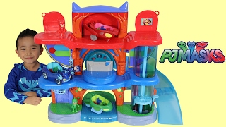 getlinkyoutube.com-PJ Masks Headquarters Playset Toys Unboxing And Playing With Catboy Gekko Owlette Ckn Toys