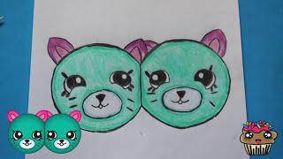 "getlinkyoutube.com-How to Draw Shopkins Season 4 ""Earring Twins"" Petkins Step By Step Easy | Toy Caboodle"