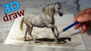getlinkyoutube.com-Zeichnen eines Pferdes in 3D/ Illusionsmalerei optische Täuschung!!