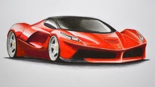 getlinkyoutube.com-How to Draw a Ferrari With Colors - How to Draw a Car