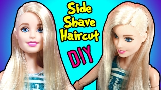 getlinkyoutube.com-How to Make Side Shave Haircut For Barbie Doll - DIY Doll Hairstyles - Making Kids Toys