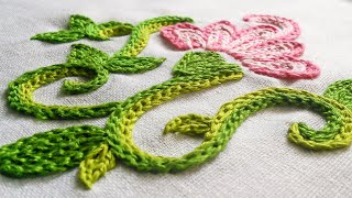 getlinkyoutube.com-Embroidery Flower | Braided Chain Stitch by Hand | HandiWorks #8