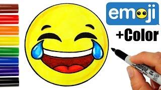 getlinkyoutube.com-How to Draw + Color Laughing Tears of Joy Emoji step by step -Super EASY Cute