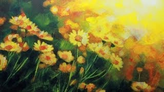 getlinkyoutube.com-How to paint a Field of Flowers: Acrylic Landscape painting Lesson. | Daisies Field by Samuel Durkin