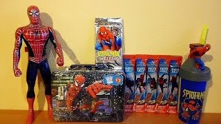 getlinkyoutube.com-Spider-Man Lunch Box Surprise Maxi Pack Toys Cards Lolly Choco Candy Unboxing
