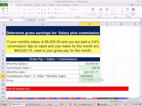 Excel 2010 Business Math 53: Calculate Gross Pay for Salary and Commissions