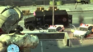 getlinkyoutube.com-GTA IV:Modded Military Vs. Abstergo Industry Police Men And Soilder's.