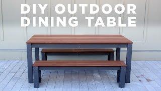 getlinkyoutube.com-DIY Modern Outdoor Table and Benches