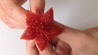getlinkyoutube.com-Цветок для резиночки или брошь. Beaded brooch. Часть 2/2