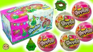 getlinkyoutube.com-Full Box Shopkins Surprise Holiday Christmas Blind Bag Ornament Balls -  Complete Exclusive Set