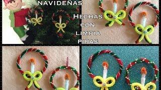 getlinkyoutube.com-CORONAS  NAVIDEÑAS  HECHAS  CON LIMPIA PIPAS  .