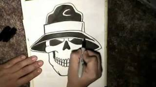 SKULL CAMP -How to draw a Cholo Skull BY -WIZARD