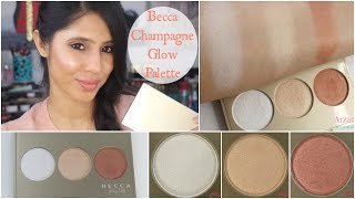 getlinkyoutube.com-NEW Becca Champagne Glow Palette | Demo + Swatches + First Impressions
