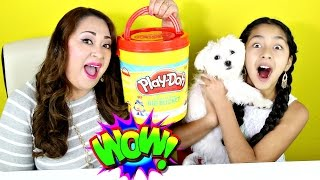 getlinkyoutube.com-GIANT Play Doh Bucket With Toys!!Shopkins My Little Pony Kinder Eggs Charm U|B2cutecupcakes
