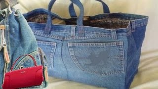 getlinkyoutube.com-How to make a bag from Old jeans