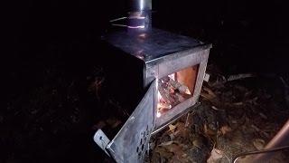 getlinkyoutube.com-Hot Tent Wood Stove Winter Overnight Backpacking Bushcraft Survival