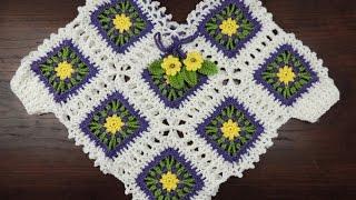 getlinkyoutube.com-Crochet: Poncho con Cuadrados para niñas
