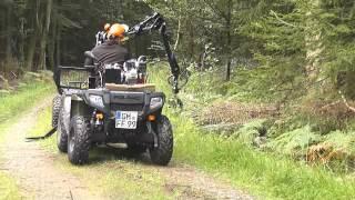 getlinkyoutube.com-Vahva Jussi Mini-Rückewagen mit 4m-Kran beim Holzladen